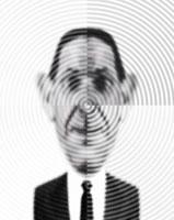 4つの波紋とビジネスマン(B/W) CG