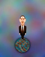 地球に乗ったビジネスマン CG 00684010308| 写真素材・ストックフォト・画像・イラスト素材|アマナイメージズ