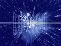 光と格子(青) 宇宙イメージ CG