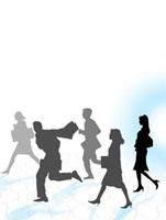 走る5人のシルエット
