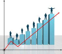 上昇するグラフと人のシルエット