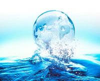 地球儀と水しぶきのCG
