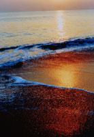 日が反射する波打ち際