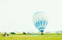 草原と気球