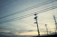 朝焼けと電線