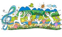 若いファミリーが楽譜とミックスした春の野原で遊ぶ 00705000200| 写真素材・ストックフォト・画像・イラスト素材|アマナイメージズ