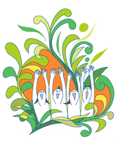手を挙げて未来へ叫ぶ若い4人の男女、背景に伸び伸びしげる植物