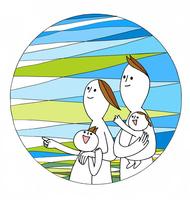 若い夫婦と2人の家族が朝日に向かって指さす 00705000210| 写真素材・ストックフォト・画像・イラスト素材|アマナイメージズ
