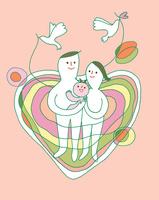 若い夫婦と赤ちゃんとハートの背景 00705000211| 写真素材・ストックフォト・画像・イラスト素材|アマナイメージズ