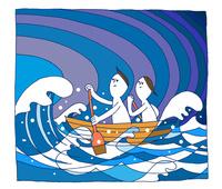 若い男女が荒れた海で一生懸命に目的に向かってボートをこぐ 00705000212| 写真素材・ストックフォト・画像・イラスト素材|アマナイメージズ