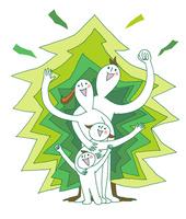 樹木の前で若いファミリーが1列に並び、ガッツポーズ