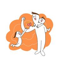 若いパパが小さな男の子をおんぶし、力こぶの右手に女の子をぶら下げる 00705000222| 写真素材・ストックフォト・画像・イラスト素材|アマナイメージズ