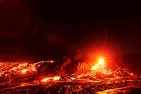 星空の崖を下る溶岩流とレンズ フレア