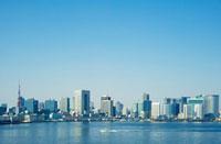 東京湾から望む東京タワーと東京湾岸ビル街