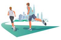 都市をジョギング