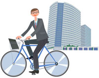 自転車に乗ったビジネスマン