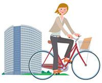 電動自転車に乗ったビジネスウーマン 00811010092| 写真素材・ストックフォト・画像・イラスト素材|アマナイメージズ