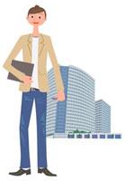 若いビジネスマンとビル 00811010102| 写真素材・ストックフォト・画像・イラスト素材|アマナイメージズ