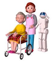 車いすのおばあちゃんと介護女性とロボット