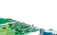 街と畑と交通網の鳥瞰図