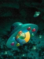 UFOの襲来にあう地球 イラスト