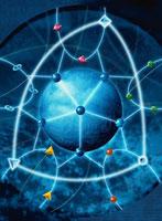 原子のネットワークのサイエンスイメージ イラスト(青)