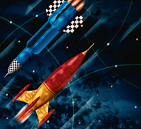 2機のロケット イラスト