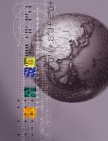 地球儀 とビジネスイメージ合成