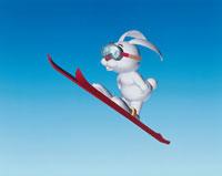 スキーをするうさぎ CG