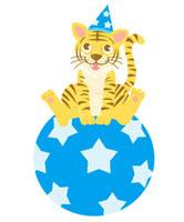 星の柄の青いボールに乗っている子どもの虎