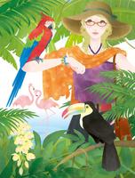 ジャングルの中の女性と鳥達