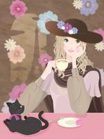 パリでコーヒーを飲む女性とクロネコ