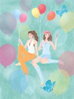 オシャレを楽しむ女の子二人と風船