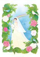 バラ園の中の花嫁と虹