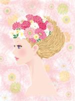 頭に花を飾った横顔の女性