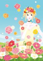花畑の女性と小鳥