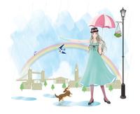 雨上がりの虹を喜ぶロンドンの女の子
