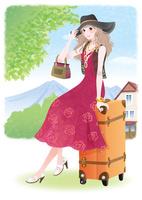 高原に旅に来た赤いドレスの女の子