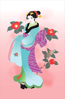 着物の女性と椿の花