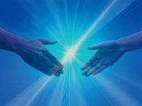 CG 二つの手と光