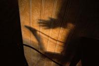 壁に映る人物といすの影