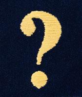 黄色い刺繍のクエスチョンマーク フォトイラスト