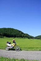 水田とバイク