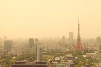 黄砂に覆われた東京タワー