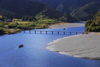 四万十川にかかる三里の沈下橋の紅葉と遊覧船