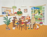 家族で楽しい食事    イラスト