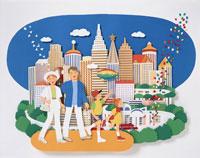 都市と家族のイメージ クラフト