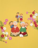 敬老の日の家族のイメージ クラフト
