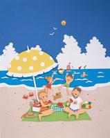 海水浴の家族のイメージ クラフト
