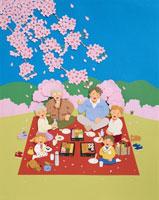 お花見をする家族のイメージ クラフト